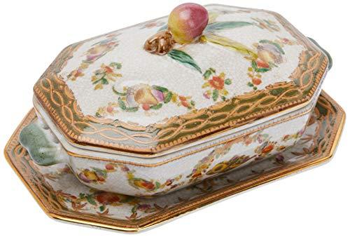 Better & Best P Sopera de cerámica Jockey, octogonal, con asas de bronce, con tapa y plato, decorada con motivos vegetales y frutales, medidas 20x13x10 cm