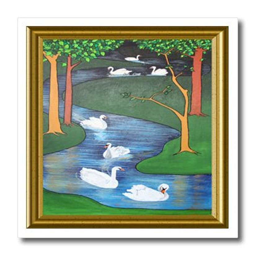 3dRose ht_78739_2 Seven Swans a Swimming-Art Nouveau, Stained Glass, Iron on Heat Transfer for White Material, 6 by 6-Inch