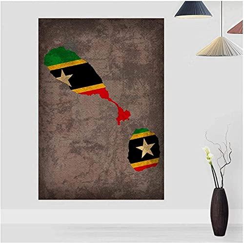 wandkunst leinwand Landflagge Karten Poster St. Kitts Nevis Flagge Karte Leinwanddruck Wohnkultur Dekor Bilder Leinwand 60x80cm ohne Rahmen