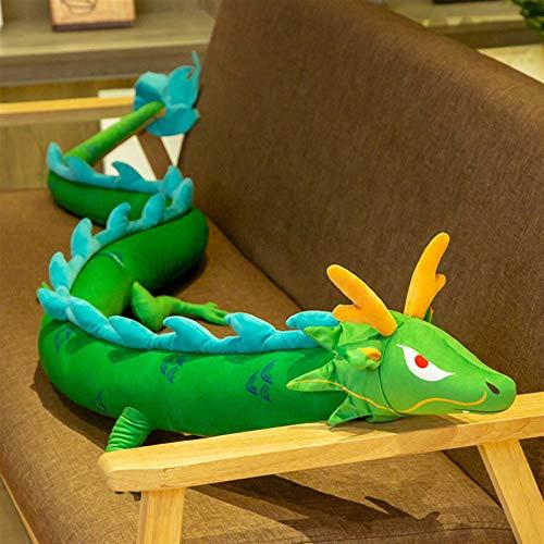 CHENPINBH Mjuka leksaker 1 st 220 cm simulering lång drake plyschleksak mjuk tecknad djur drake dinosaurie fylld docka kudde bästa presenterna (färg: Grön, höjd: 220 cm)