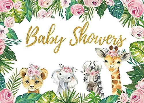 DANIU Safari baby shower tło dziecko dziewczynka chłopiec dżungla zwierzęta winyl tło las las urocze zwierzęta noworodek baner dekoracje (2,1 x 1,5 m ))