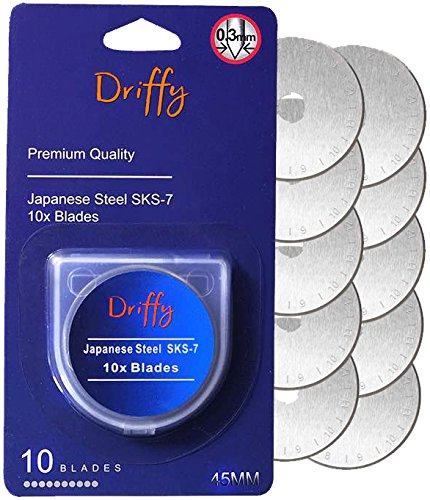 Rotary Cutter Blades 45mm 10-PACK Compatible with Driffy, Fiskars, Olfa Blades, Truecut, Clover and Dafa. Suits a Cutting Mat. Quilting Accessories and Craft Supplies