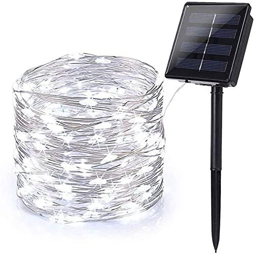 Guirnaldas Luces Exterior Solar, XVZ 120 LED Cadena de Luces Solares, 8 Modos de Luz, alambre de cobre Impermeable, Decoracion para Patio, Jardines, Festivales, Fiestas, Bodas (blanco frío)