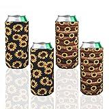 Paquet de 4 refroidisseurs de canettes de bière Slim en néoprène, porte-bouteilles plia...