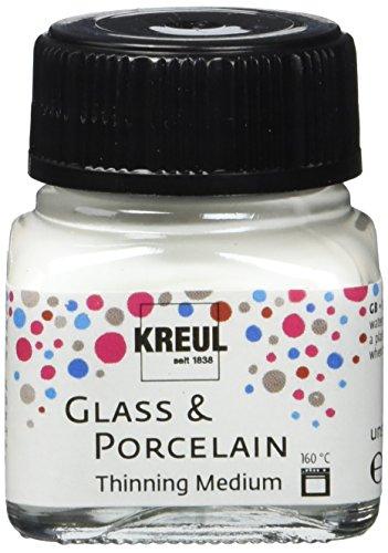 Kreul 16273 - Glass und Porcelain Farbverdünner, Medium zum Verdünnen von Glas- und Porzellanmalfarben, für aquarellartige Farbeffekte, 20 ml Glas, farblos