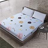 YEHAOFEI Einfache Polyester Schlafzimmer Einfarbig Floral Gedruckt Spannbetttuch Bett Protector Pad Bettlaken Sehnsucht nach 160X200cmX25