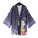 YOMORIO Neko Atsume Cute Cat Japanese Kimono Yukata Cardigans Womens Anime Cosplay Robe Costume Blue