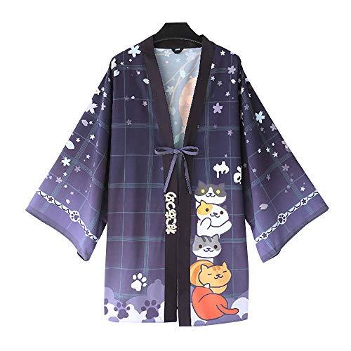 YOMORIO Neko Atsume Cute Cat Japanese Kimono Yukata Cardigans Womens Anime Cosplay Robe Costume