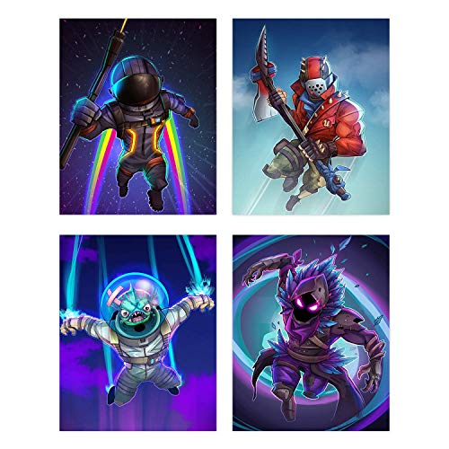Battle Royale Poster Wall Art | Set of Four 8x10 Video Game Skin Prints for Boys and Girls | Fort | Set 2