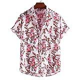 ZAIZAI Verano hombres playa camisa étnico estilo estampado hombre casual camisa corbata cuello streetwear de manga corta tops tropical hawaiano (Color : Pink, Size : L code)