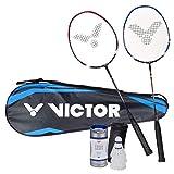 Victor V-37002 Juegos para badminton Magan –Juego con 2raquetas, 1bolsa & 3volantes–negro/azul/blanco