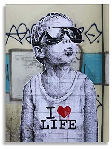 Banksybilder Banksydrucke Druck auf leinwand Banksy Graffiti - Bild I Love My Life Bild fertig auf Keilrahmen Kunstdrucke, Wandbilder, Bilder zur Dekoration - direkt vom (30x40 cm)