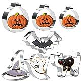 Olywee - Set di 7 stampi per biscotti in acciaio inox, motivo fantasma, cappello da strega, gatto, pipistrello, zucca