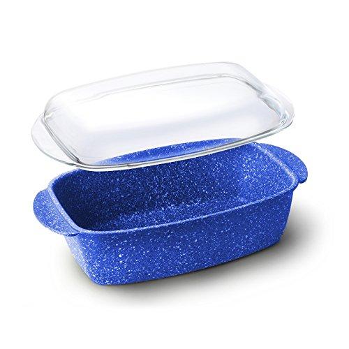 Braadpan 2-in-1 rechthoekig van blauwe steen. 100% PFOA vrij voor gasfornuizen, oven en inductie - pan met vulkaanglazen deksel met marmeren coating FH2046