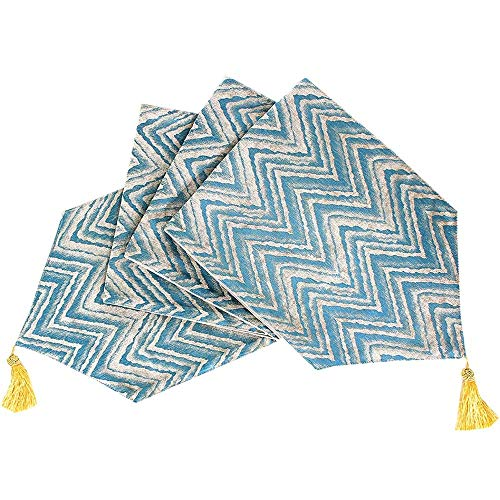 ZXL Loper, modern, minimalistisch Chenille Jacquard tafelvlag, geometrisch tafelkleed met franjes, koffiekleur | groen, interieur | bruiloft | geschenk, 33 x 140 cm, 33 x 210 cm, 33 x 240 cm
