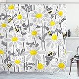 ABAKUHAUS Grau Duschvorhang, Daisy Blatt Spring Time, Wasser Blickdicht inkl.12 Ringe Langhaltig Bakterie & Schimmel Resistent, 175 x 200 cm, Gelb Weiß