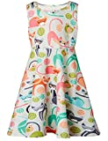 BFUSTYLE Beige Dress for Preteen Girls Cat Bird Cartoon Printed Autumn Outside Play Dresses Chic Colourful Street Casucal Frocks Clothes 10-13 Years Old