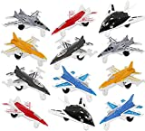 Airplane Toys Set of 12 Diecast Plastic Military Themed Fighter Jets Mini Air Force Kids Playset