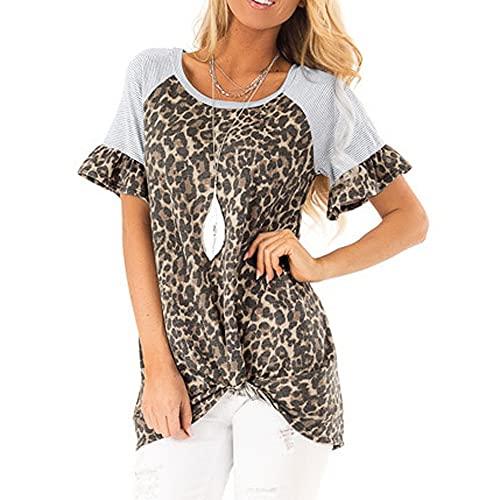 Elesoon Camiseta de verano para mujer con estampado de leopardo y manga corta anudada suelta con cuello en O, A-caqui, 42