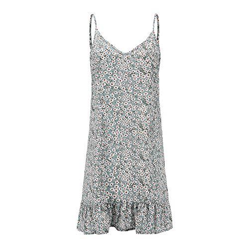 Aututer Donne Stampato Sciolto Mini Dress Ladies V-Collo Estate Increspato Orlo Vestito Moda Senza Maniche Spiaggia Boho Bretella Vestito Manica Corta Verde XXXL