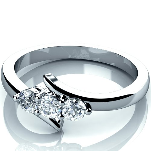 0.25 Carat Round Diamond Trilogy Engagement Ring Crafted in 9K White Gold Size I