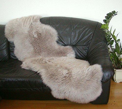 HEITMANN australische Doppel Lammfelle aus 2 Fellen Taupe gefärbt, vollwollig, Haarlänge ca. 70 mm, 30 Grad waschbar, ca. 175x63 cm