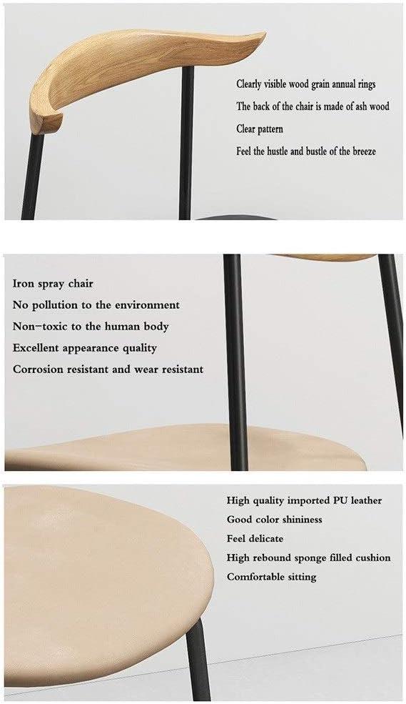 WHOJA Chaise Fauteuils Rétro Avec coussin rembourré Siège en PU Dos en bois massif Cadre en fer forgé Café de cuisine 44.5x5676cm Chaises d'angle (Color : Black) Black