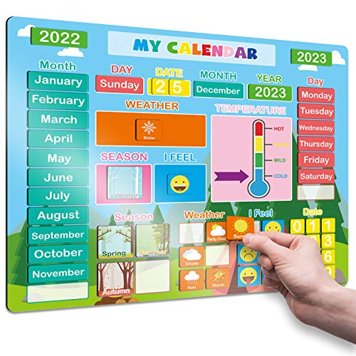 2021 Daily Magnetic Calendar for Kids, Magnetic Educational Toy for Toddlers 1st to 5th Grade, Preschool Learning Gift for Boys/Girls/School/Home/Classroom/Fridge, Include Week/Date/Weather/Emotions