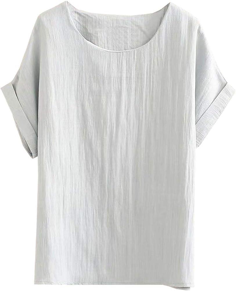 SCOFEEL Women's Summer Linen Tops Shirt Blouse Short Sleeve