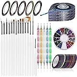 JOYJULY Kit de decoración uñas , 5 bolígrafos,15 brochas, 30 cintas de rayas, caja de rodillos de rayas 4 en 1, 12 colores de diamantes de imitación