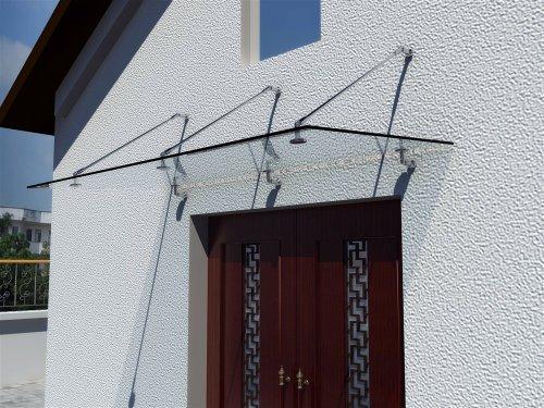 Preisvergleich Produktbild i-flair Glasvordach 200cm x 90cm,  Vordach aus 13, 14 mm starkem Verbundsicherheitsglas (VSG) mit hochwertigen V2A Edelstahlbeschlägen - ALLE GRÖßEN