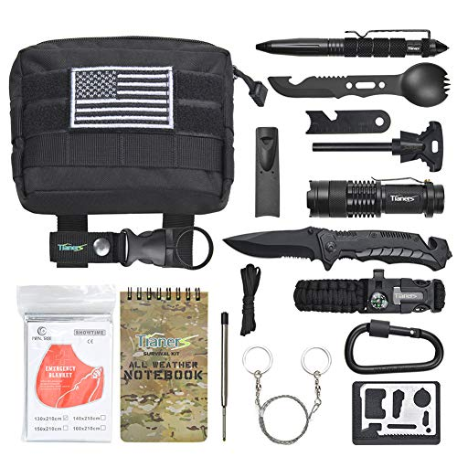 Gifts for Men Husband Dad Friend, Emergency Survival Kit 16 in 1, Upgrade Compact Survival Gear, Cool EDC Survival Tool for Cars, Camping, Hiking, Hunting, Fishing, Adventure Accessorie