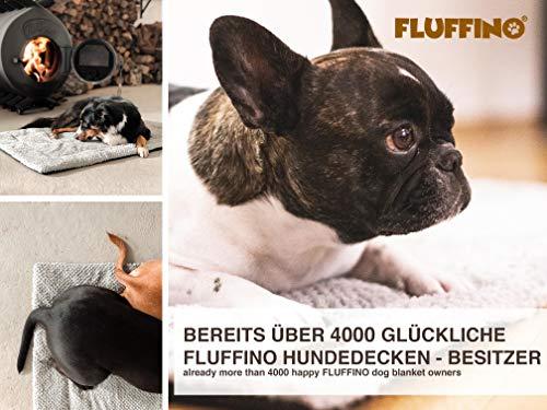 FLUFFINO Hundedecke – Flauschig, Weich u. Waschbar (Größe L, 104 x 68 cm, grau)- erhöhte Rutschfestigkeit durch Gumminoppen – Für große u. kleine Hunde o. Katzen – Hundematten/ Hundekissen, Katzendecke (L) - 6