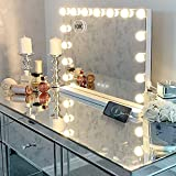 Hansong Large Vanity Mirror with Lights, Hollywood Lighted Makeup Mirror with 15 Dimmable LED Bulbs for Dressing Room & Bedroom, Tabletop or Wall-Mounted, Slim Metal Frame Design, White