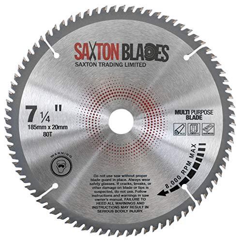TCT18580TTCG20B Saxton TCT - Lama per sega circolare, 185 mm x 80 T x 20 mm, foro (anello da 16 mm), in alluminio laminato