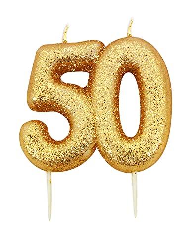 Anniversario casa età 50 glitter numerici modellati pick candela oro