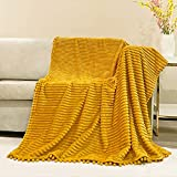 NAISI Flannel Throw Blanket with Pom Pom Fringe and Super Soft Stripe Pattern Lightweight Cozy Fleece Blanket Perfect for Bed Couch Sofa (Yellow, 51'x 63')