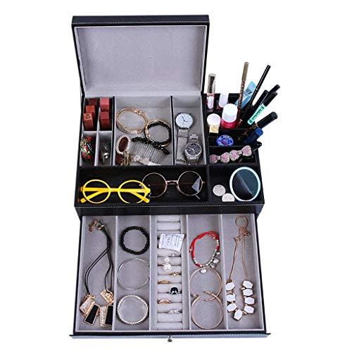 Schmuckschatullen Make-up-Halter Cosmetic Organizer Caddy Tablett Schminktischhalter Deckelaufbewahrungsbehälter mit Schublade für Schönheits- und Körperpflegeprodukte
