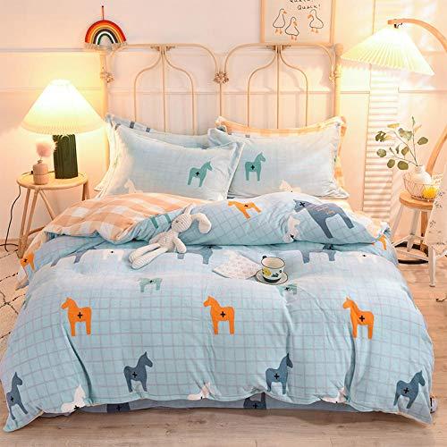 Shinon fleece duvet set super king,Winter thick double-sided plush flannel plus down sheet duvet cover extra large bedding set-R_1.8m bed (4 pieces)