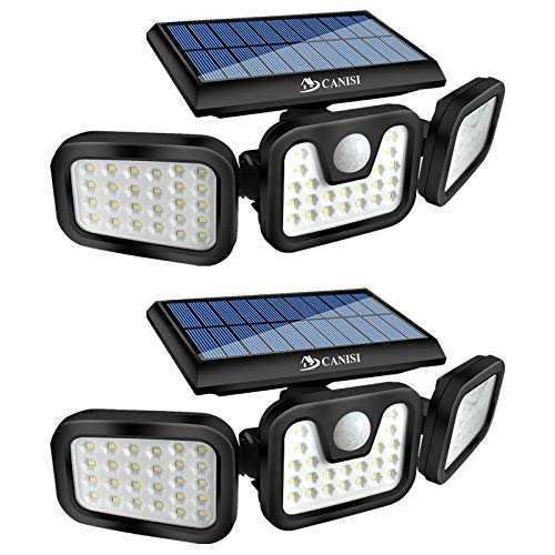 Solar Lights Outdoor , CANISI Upgrade 3 Adjustable Heads w/ 3 Work Modes,800LM Security LED Outdoor Solar Lights Motion Sensor,IP65 Waterproof Suitable for Outside Wall Yard Garage Porch.(2Pack)