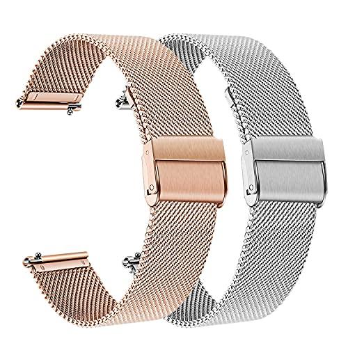 Compatible con Galaxy Watch3 41mm / Galaxy Watch 42mm / Galaxy Watch Strap activo / engranaje Sport Strap, 20 mm Metal sólido Strap de malla de acero inoxidable Lanzamiento rápido Relojes Reemplazo co