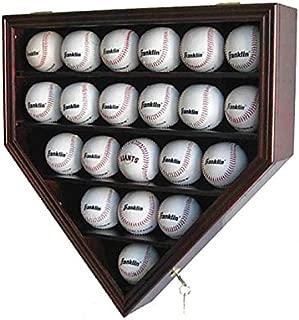 Solid Wood 21 Baseball Display Case Wall Cabinet Holder Shadow Box, w/UV Protection, Lockable