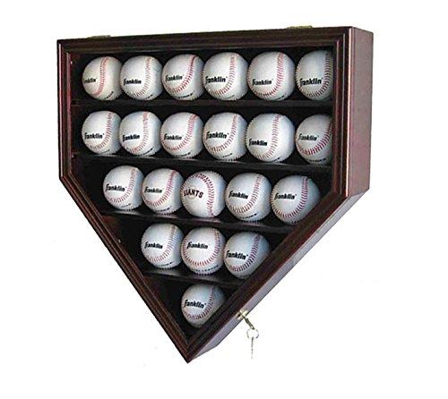 21 Baseball Display Case Cabinet Holder, w/UV Protection, Lockable B21 (Cherry)