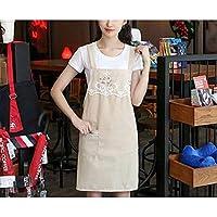 KUKNOS Distaffエプロン2PCS / LOTファッションキッチン大人のオイルプルーフコットンカフェストラップ作品 エプロン 女性のエプロン ガーデンエプロン (Color : Beige, UnitCount : 2PCS)