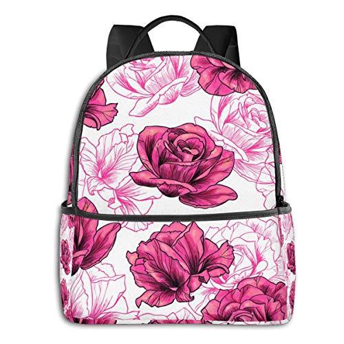 Poetische Rose Fashion Style Jungen Mädchen Schule Computer Rucksäcke Büchertasche Wandern Camping Daypack