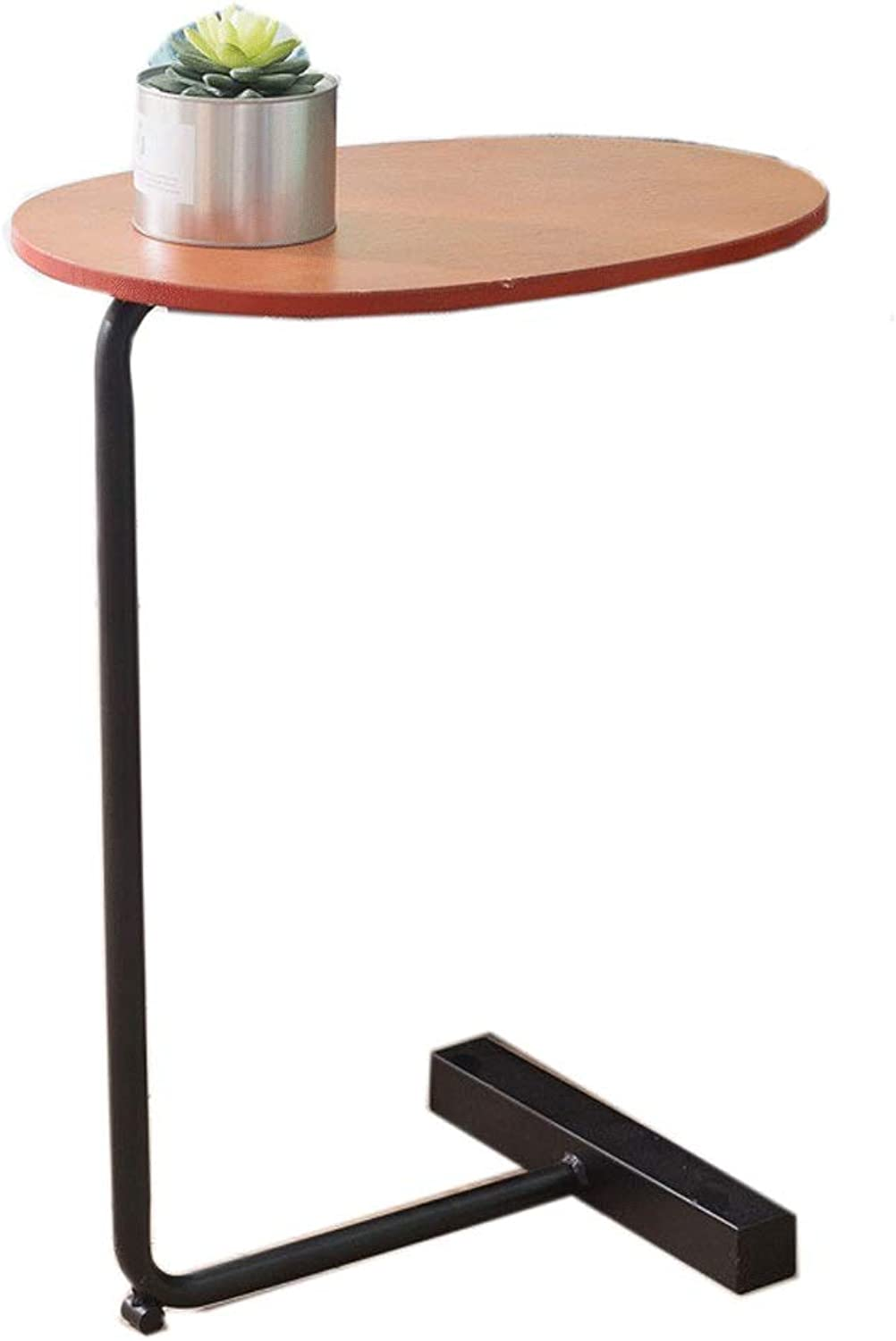 Multi-Function Round Coffee Table Side Table Shelf Work Table Iron and Solid Wood Family Living Room and Bedroom Bedside (color   Black)