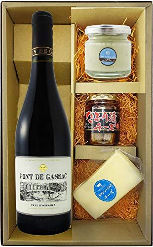 〔セット商品〕ポン・ド・ガサック ルージュ 750ml + チーズ(ブルーチーズディップ・たまり漬け・カマンベール入りチーズ)セット