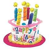Amscan Happy Birthday Cake Plush Hat, 6' x 10', Pink