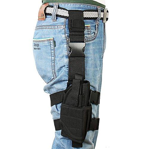 Kingnew Pistole Oberschenkel Tasche Einstellbare Airsoft Beinholster mit multifunktionalen Ersatzbeutel (schwarz)