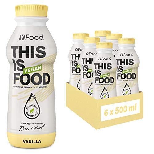 YFood Vegan Vanille | Laktose- & glutenfreier Nahrungsersatz | 26g Protein, 26 Vitamine & Mineralstoffe | Astronautennahrung - 25{1bf2688d3822c15c03933fcbf2e3649684a73154ffc02805e43fed984cd79f6e} des Kalorienbedarfs | Trinkmahlzeit, 6 x 500 ml | 1,50 € Pfand inkl.